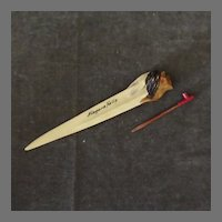 Vintage Celluloid Letteropener with Pipe Pencil,  American Indian - German Celluloid
