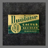 Vintage Cactus Phonograph Needle Package with 12 Duotone - Unopened