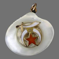 Vintage Watch Fob - Carved Mother of Pearl Shell with Shriner's Emblem