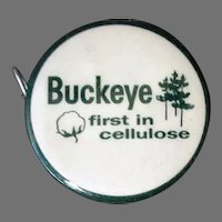1950's Vintage Celluloid Advertising Tape Measure - Buckeye Cellulose