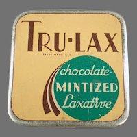 Vintage Laxative Medicine Tin -  Tru-Lax Chocolate Mintized