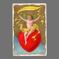 Vintage Valentine Postcard Cupid with Large Red Heart - Early 1900's