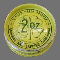 Vintage Clover Brand Grinding & Lapping Compound Tin with Nice Graphics