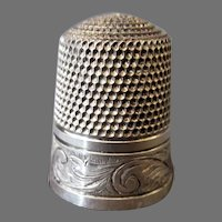 Vintage Sterling Silver Simons Bros Sewing Thimble, Size 11 – Hand Tooled Scroll Design