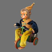 Vintage Tin and Plush Monkey Cyclist – Tin Tricycle – Battery Operated