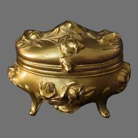 Vintage Casket Style Dresser Box with Floral Rose Design – Gold Gilded Jewelry Box