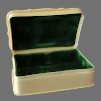 Vintage French Style Celluloid Ivory Dresser Box with Hinged Lid and Velvet Insert