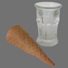 Vintage Ice Cream Cone Soda Fountain Glass