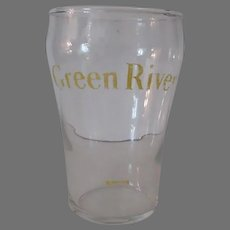 Vintage Green River Soda Advertising Glass with Syrup Line