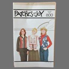 Vintage Patches of Joy #800 Laurie Vest 1980's Pattern – Unused & Complete
