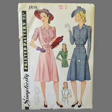 Vintage Misses' 1940's Fashion Women's Shirtmaker Dress -Simplicity #3898 Pattern Size 12