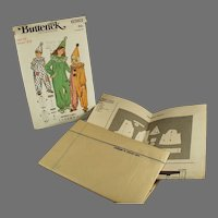 Vintage Size 12 Halloween Clown Costume Pattern - #6363 1970's Butterick Pattern