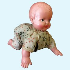 Vintage Celluloid Crawling Baby Doll – Occupied Japan, O.J. Celluloid Wind Up Doll