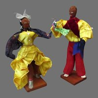 Vintage Cloth Souvenir Dolls – Dancing Cuban Dolls with Bright Costumes