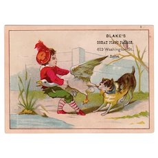 Vintage Victorian Advertising Trade Card - Blake's Great Piano Palace, Humorous Graphics