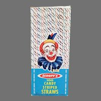 Vintage Candy Striped Paper Straws - 1963 Scoopy Clown on the Box