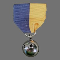 Vintage Sterling Silver Two Finger Bowling Ball Sports Medal -1945 Pin