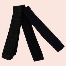 Three Vintage 100% Wool Knit Ties - Square Bottom Skinny Neckties in Dark Colors