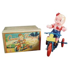 Vintage Occupied Japan Celluloid & Tin Wind-Up Toy - Boy on Tricycle with Box