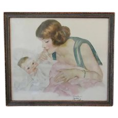 Framed Print – Vintage Maud Tousy Fanfel - Baby with Adoring Mother
