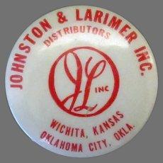 Vintage Celluloid Advertising Tape Measure – Johnston & Larimer – Oklahoma & Kansas