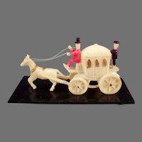 Vintage Miniature Celluloid Toy Horse Drawn Princess' Carriage