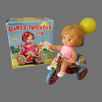 Vintage Wind Up Toy - Little Girl on Tricycle with Original Box