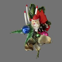 Vintage Christmas Decoration Ornament with Santa Claus, Candles, Holly and More