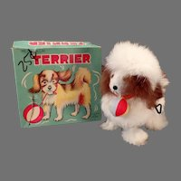 Vintage Wind-up Toy - Rabbit Fur Covered Terrier Dog with Original Alps Box