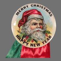 Vintage Celluloid Christmas Pinback with Santa & Ribbons - Pin Back on Original Card