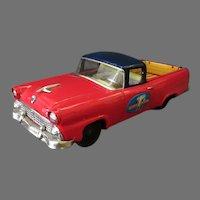 """Vintage Japanese Tin """"Ford Lasts Longer"""" Red Ranchero – Bandai Friction Car"""