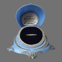 Vintage Ring Box - Very Pretty, High Domed Clamshell, Blue Ring Box
