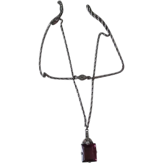 Vintage Amethyst Colored Glass and Paste Pendant Necklace – Sterling Neck Chain - 1930's