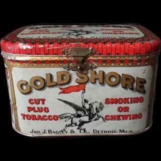 Vintage Tobacco Tin - Gold Shore Cut Plug Tobacco Lunch Box Style Display Tin