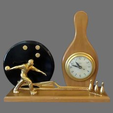 Vintage Mid Century Electric Mantle Clock with Bowling Theme - ca1950's – 1960's