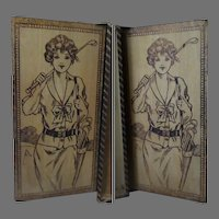 Vintage Stationery or Hankie Box - Wood Burned, Painted Pyrography with Golf Girls