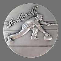 Vintage St. Moritz, Winter Sports Medallion with Nice Graphics - Engiadina Curling Club