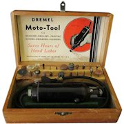 Vintage 1940's Dremel Electric Moto-Tool with Box, Assorted Bits and Attachments - Works