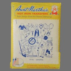 Vintage Aunt Martha's Iron On Transfers - #3776 Sports plus Additional Sheets with Birds