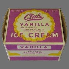 Vintage One Pint Clair Ice Cream Box – Colorful Vanilla I.C. Carton