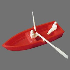 Vintage Renwal Plastic Row Boat with Two People and Little Oars