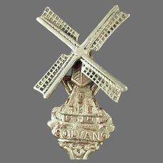Vintage Souvenir - Solvang California Souvenir Spoon with Danish Windmill Design