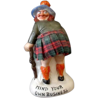 Vintage Schafer and Vater Porcelain Scotsman Whimsy - S&V Mind Your Own Business