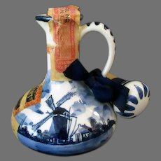 Vintage Blue Delft - Little Jug with Windmill Scene - Miniature Liqueur Bottle