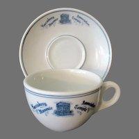 Vintage 1920's Harrisburg Association Masonic Temple Cup & Saucer Restaurant China