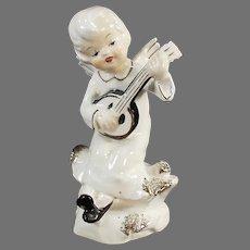 Vintage Porcelain Angel Playing a Banjo-Like Instrument - 1950's