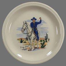 Vintage Hopalong Cassidy Dinner Plate - Hoppy in Blue on White Horse