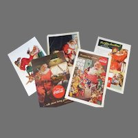 Vintage Coca-Cola Magazine Ads Featuring Santa Claus - Group of 5, 1940's-1950's