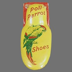 Vintage Poll Parrot Shoes Advertising Premium Toy - Tin Clicker