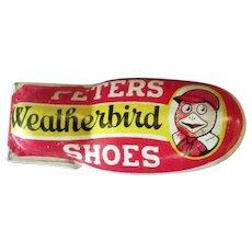 Vintage Peters Weatherbird Shoes  Advertising Premium Tin Toy Clicker
